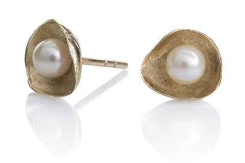 Waterlily Earrings Open Gold Pearls