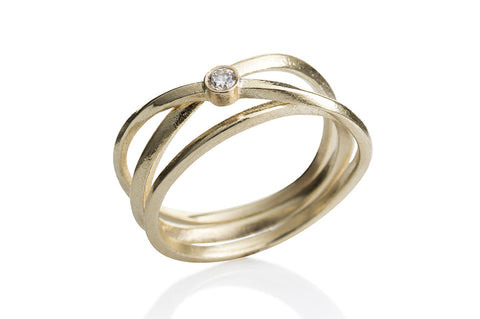 Kaprifol Ring Triple Airy Gold Diamond