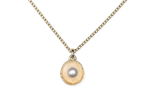 "Waterlily Necklace Gold Pearl  ""Small"""