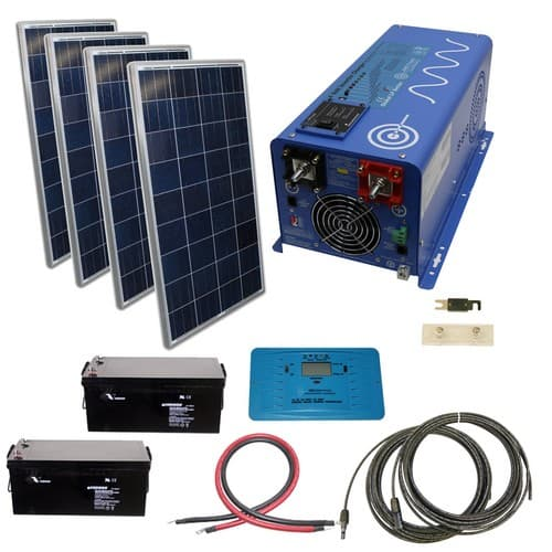 AIMS Power 480 Watt Off-Grid Solar Kit with 2000 Watt Power Inverter Charger - 24 Volt