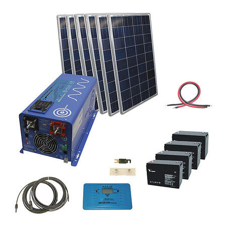 AIMS Power 720 Watt Off-Grid Solar Kit with 4000 Watt Power Inverter Charger - 24 Volt - In Stock 10/20