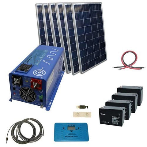 AIMS Power 720 Watt Complete Solar Kit with 3000 Watt Pure Sine Inverter Charger 24 Volt Off-Grid  with Mount Rack