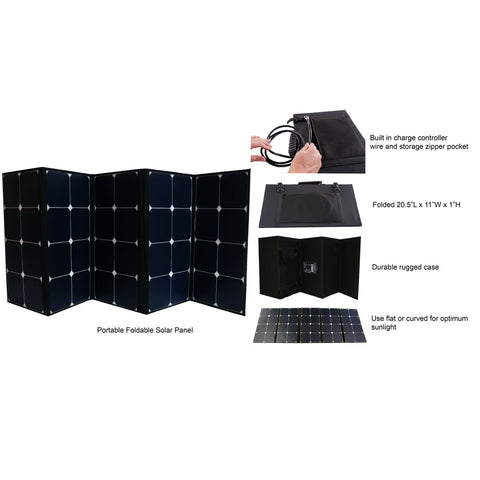 AIMS Power 130 Watt Portable Foldable Solar Panel Pre-wired and Built-in Carrying Case Monocrystalline