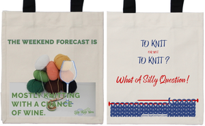 Knitting Themed Tote Bags and Domino Knitting