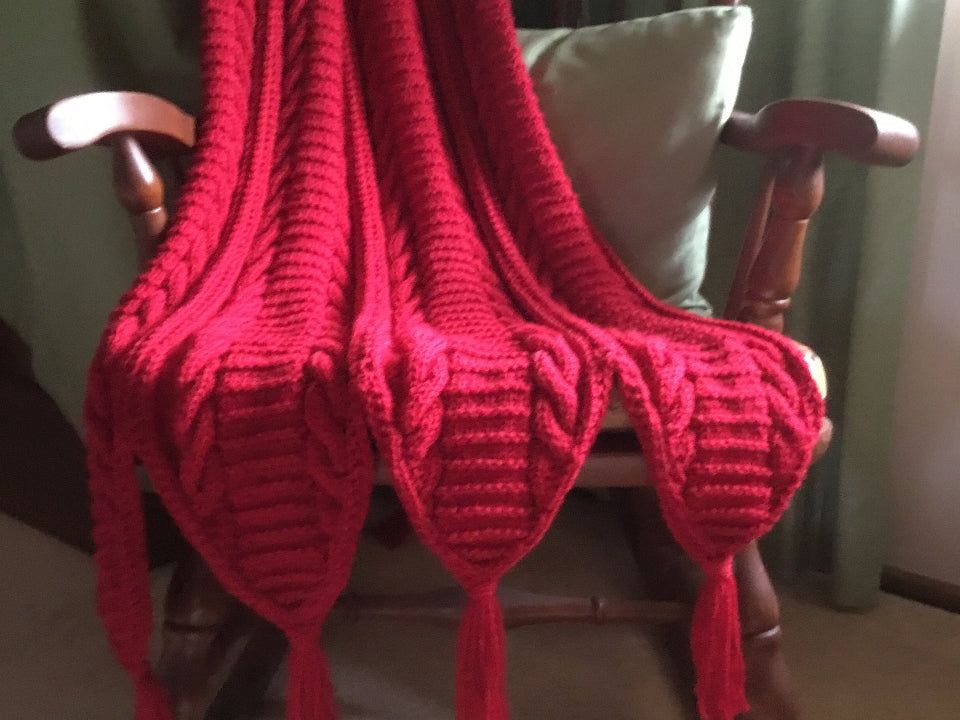 Red Cable Rug by Joan of Glenhaven.