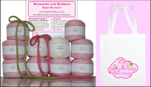 Knitting kit for Blossoms and Bubbles Baby blanket - yarn, pattern and project bag.