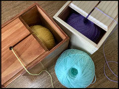 Yarn boxes for using when knitting and crocheting