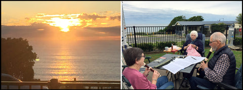 Sunrise at Bonny Hills and Ferg and Sue playing recorders.
