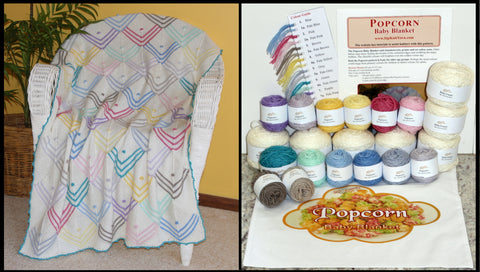 Popcorn pattern knitted  Baby Blanket with knitting kit and Project Bag.