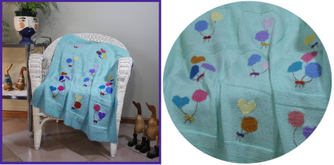 Beautiful Balloons knitted baby blanket