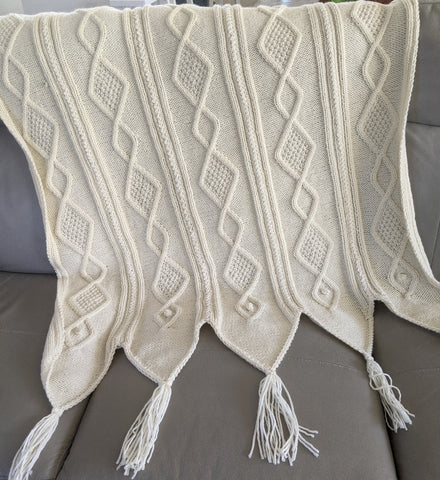 Knitted cable stich blanket, diamonds. bobbles, mistake rib and double moss stitches.