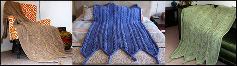 Hand knitted blankets with cables
