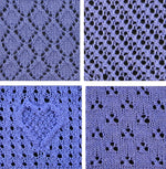 Load image into Gallery viewer, close up of four pretty knitting stitches. Knitted heart pattern.