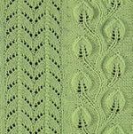 Load image into Gallery viewer, Close up view of pretty knitting stitches for vertical panels. Climbing leaf knitting pattern.