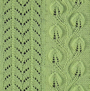 Close up view of pretty knitting stitches for vertical panels. Climbing leaf knitting pattern.