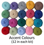 Load image into Gallery viewer, Accent colours (shown as balls of wool ) for easy knit woolen blanket kit.
