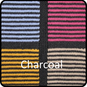 Easy knitting woolen blanket kit charcoal colorway closeup image.