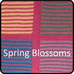Load image into Gallery viewer, Easy knitting woolen blanket kit spring blossom colorway closeup image.
