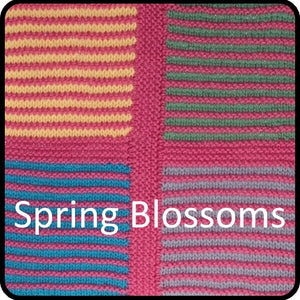 Easy knitting woolen blanket kit spring blossom colorway closeup image.
