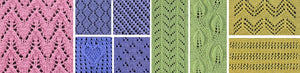 Close up view of lace knitting patterns for squares, vertical panels and horizontal panels.