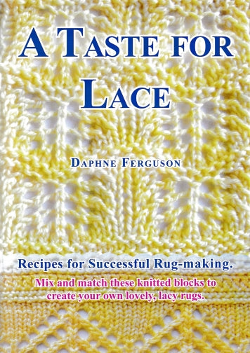 Sip Knit Yarn rug and blanket knitting lace pattern book. Front cover.