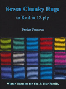 Image of cover of knitted blanket patterns for thicker wools. The book is called Seven Chunky Rugs.