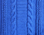 Load image into Gallery viewer, Cable and ladder panel close up detail in hand knitted wool blanket.