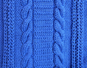 Cable and ladder panel close up detail in hand knitted wool blanket.