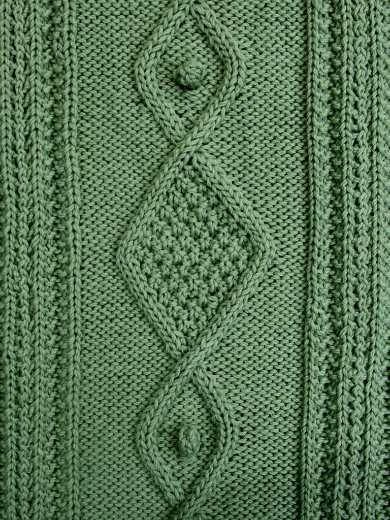 Unique diamond and bobble kintting stitch closeup. These stitches used in creation of hand knitted rug.
