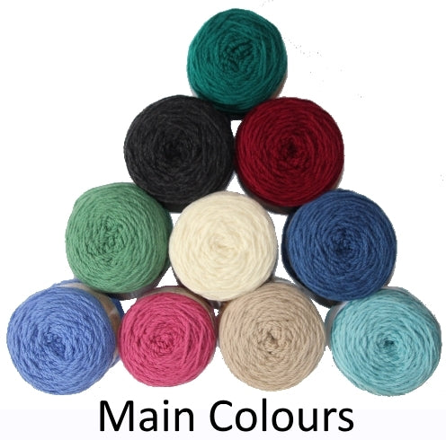 Main colour choices (shown as balls of wool ) for easy knit woolen blanket kit.
