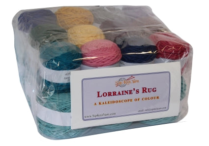 Lorraine's rug easy knit woolen blanket kit. Image of the packaged kit.