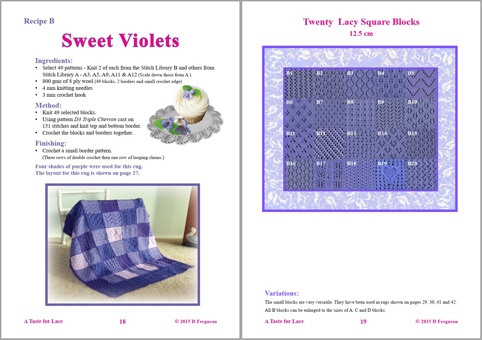 Sip Knit Yarn rug and blanket knitting lace pattern book. Page 18 and 19.