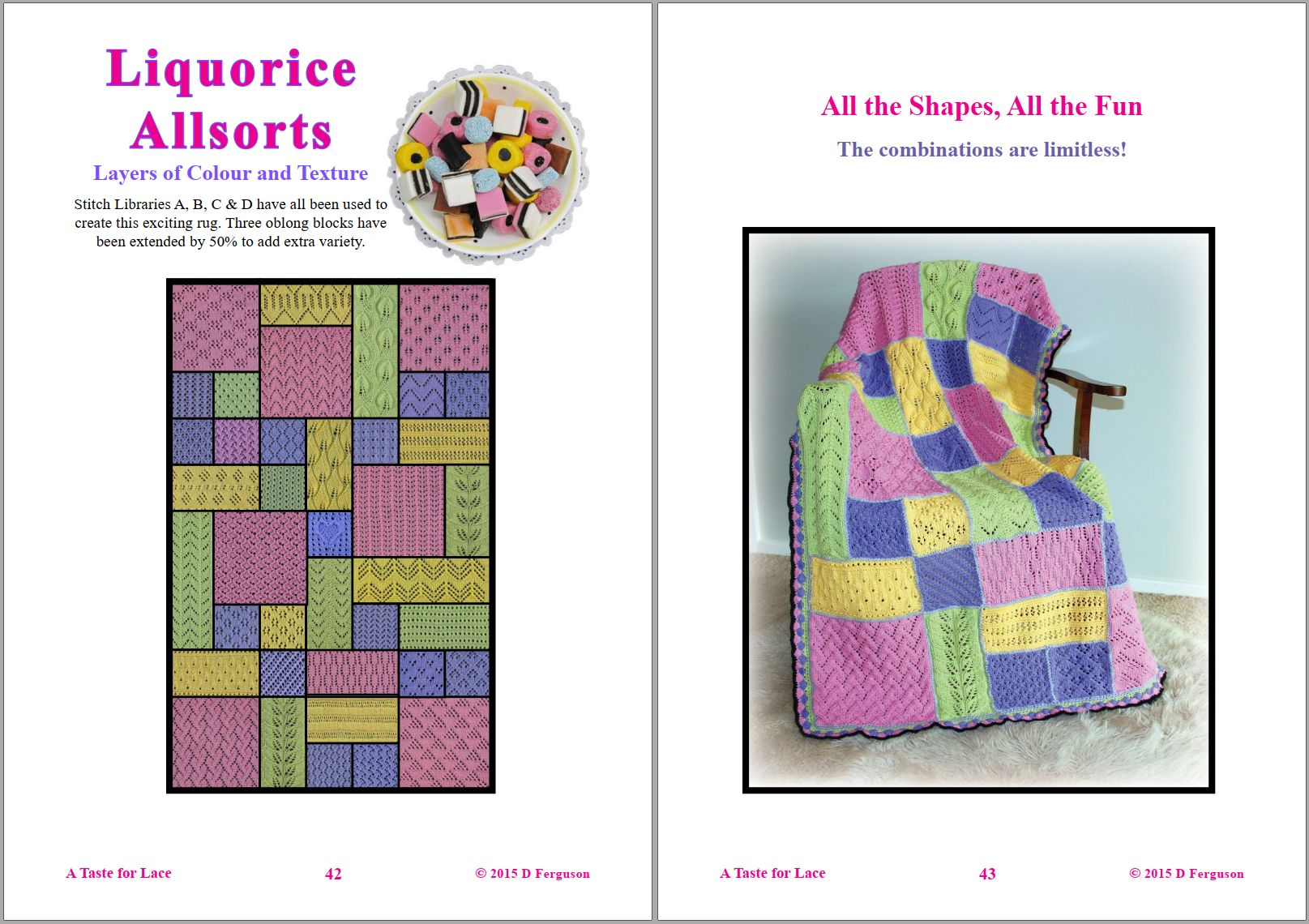 Sip Knit Yarn rug and blanket knitting lace pattern book. Page 42 and 43.