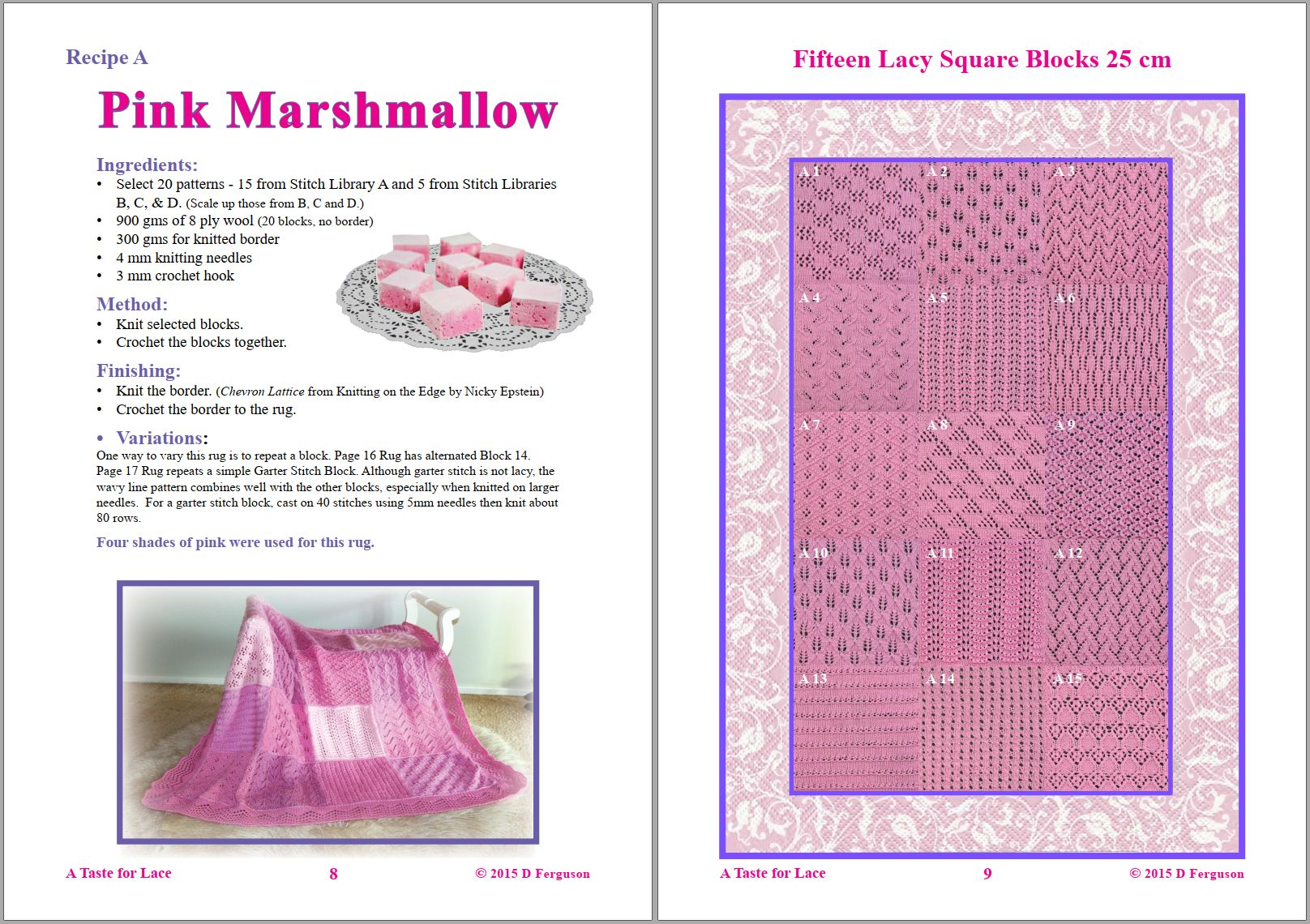 Sip Knit Yarn rug and blanket knitting lace pattern book. Pages 8 and 9.