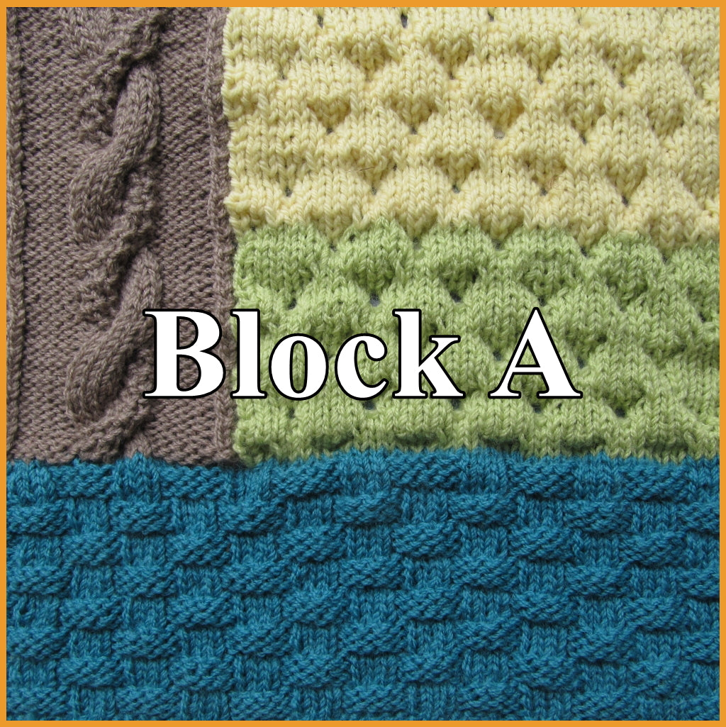 Block A of Textured Sampler Blanket with three separate stitches - Basketweave stitch, Dimple stitch and Mossy Twist stitch