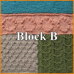 Load image into Gallery viewer, Block B of Textured Sampler Blanket with four separate stitches - Mock Honeycomb stitch, Seed Pods stitch, Bobble Circles stitch and Garter stitch