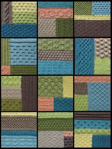 Twelve textured knitted blocks that together form the textured Epping knee rug.