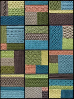 Load image into Gallery viewer, Twelve textured knitted blocks that together form the textured Epping knee rug.