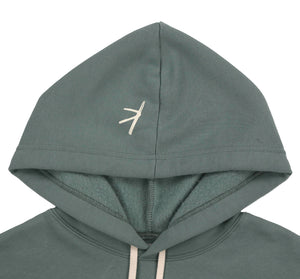 Stoked All Day Cropped Hoodie (Green / Cream)