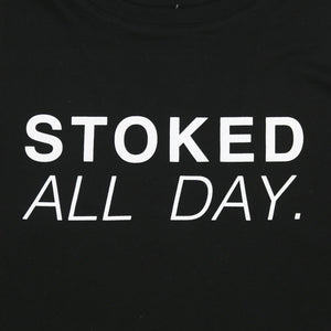 Stoked All Day Cropped Racerback Tank (Black / White)