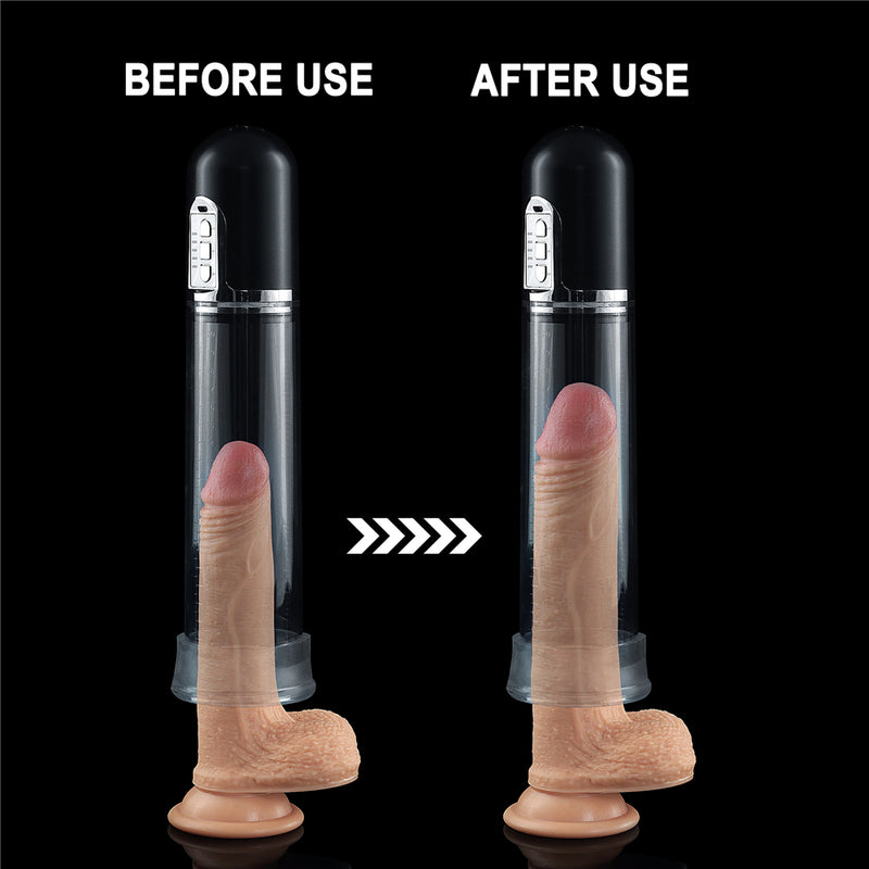 Rechargeable Male Penis Pump Device with Cock Ring, Male Masturbator and Quality Storage Bag included.