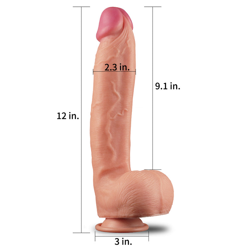 "12"" Huge Dual Density Silicone Realistic Dildo with Suction Cup"