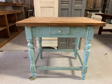 Pine Flip top table with drawer