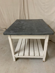 Zinc Top Island/ Table with Storage Shelf