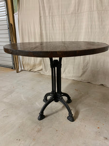 Round Iron Base Table with French Beam Top