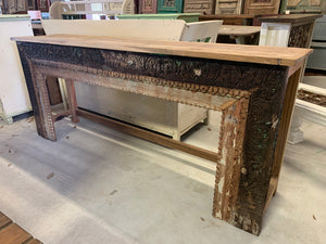 Long Teak Hand-carved Console