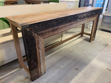 Load image into Gallery viewer, Long Teak Hand-carved Console