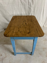Load image into Gallery viewer, Pine Side Table with Blue Painted Base