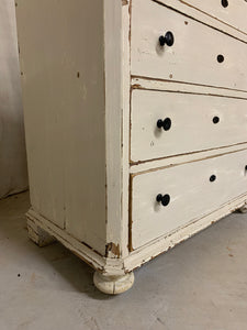 Pine Chest of Drawers with original white paint