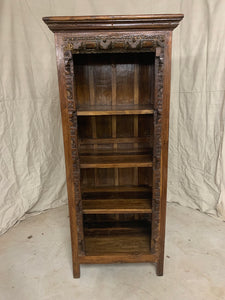 Tall Teak Carved Bookshelf